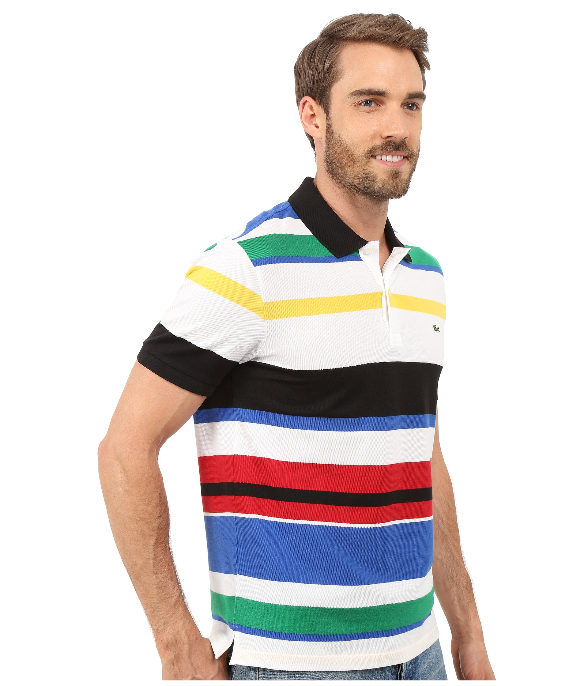 Lacoste jersey piqu multi striped polo free for Lacoste stripe pique polo shirt