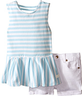 7 For All Mankind Kids - Five-Pocket Medium Roll Stretch Twill Cuff Shorts and Peplum Striped Jersey Tank Top (Toddler)