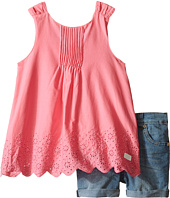 7 For All Mankind Kids - Five-Pocket Medium Roll Stretch Denim Cuff Shorts and Eyelet Scalloped Poplin Tank Top (Toddler)