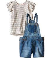 7 For All Mankind Kids - Four-Pocket Stretch Denim Shortall and Flutter Sleeve Reverse Jersey Top (Toddler)