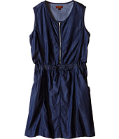 7 For All Mankind Kids - Two-Pocket Sleeveless Chambray 1/2 Zip Dress (Big Kids)