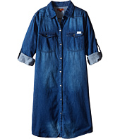 7 For All Mankind Kids - Collared Denim Roll Tab Sleeve Shirtdress (Big Kids)