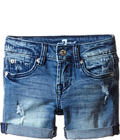7 For All Mankind Kids - Five-Pocket Denim Cuff Shorts in Red Cast Heritage Blue (Little Kids)