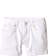7 For All Mankind Kids - Denim Five-Pocket Cuff Shorts in Clean White (Big Kids)