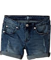 7 For All Mankind Kids - Five-Pocket Denim Cuff Shorts in Red Cast Heritage Blue (Big Kids)