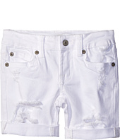 7 For All Mankind Kids - Five-Pocket Bermuda Roll Cuff Shorts in Destructed White (Little Kids)