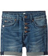7 For All Mankind Kids - High Waisted Roll Cuff Denim Shorts in Medium Heritage (Little Kids)