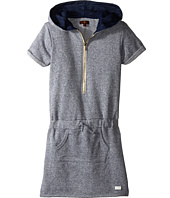 7 For All Mankind Kids - Hooded French Terry Rolled Cap Sleeve Zipper Dress (Big Kids)