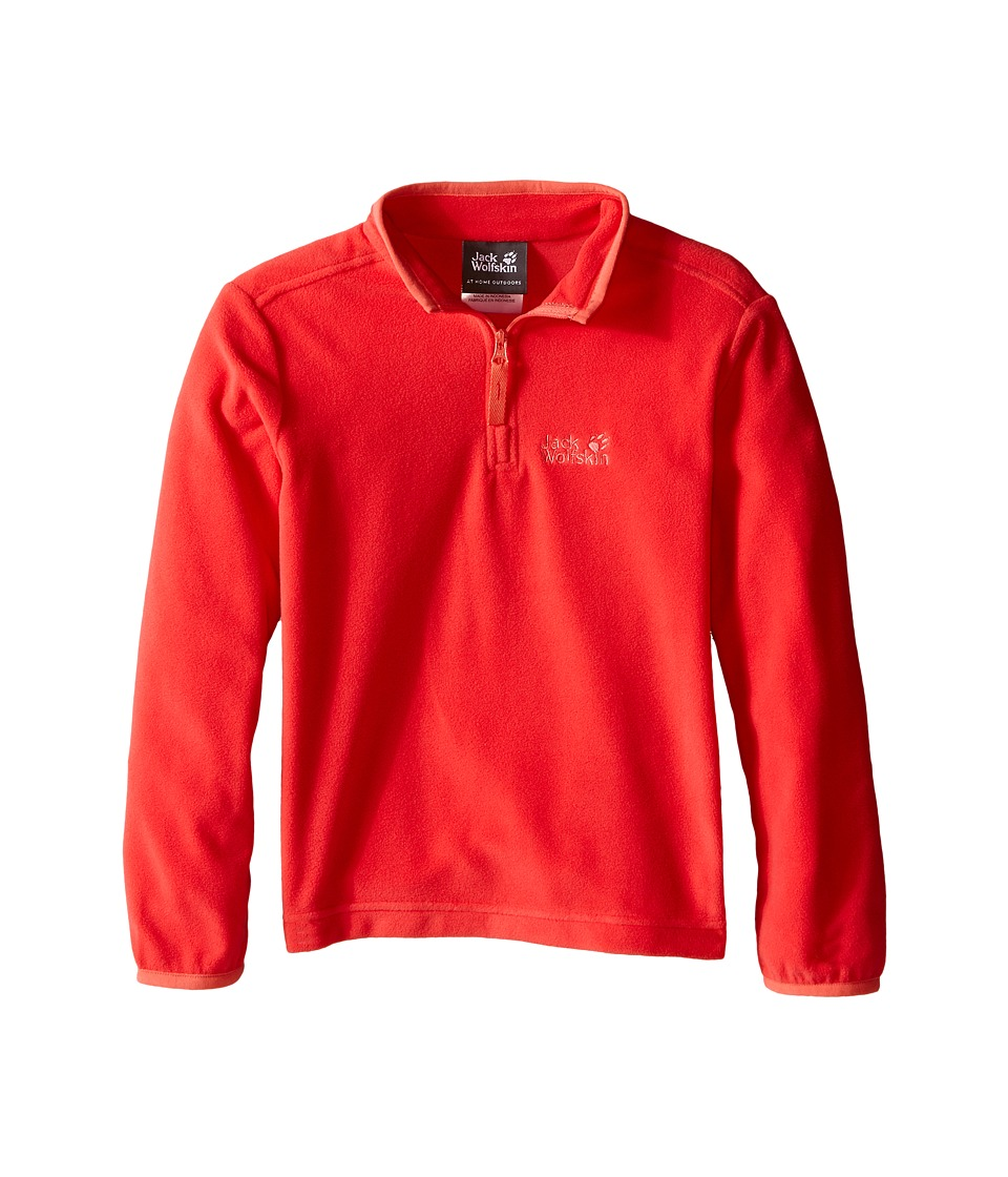 Jack Wolfskin Kids Gecko Nanuk 1/2 Zip Little Kid/Big Kid Hibiscus Red Girls Clothing