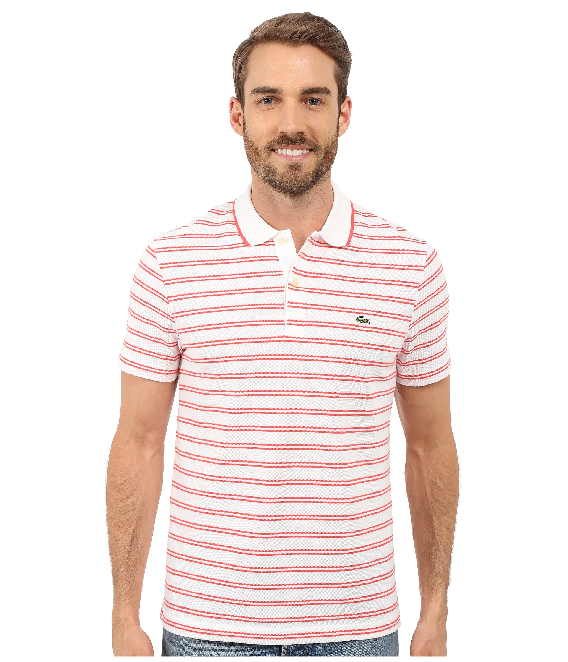 Lacoste short sleeve pique jersey stripe polo white for Lacoste stripe pique polo shirt