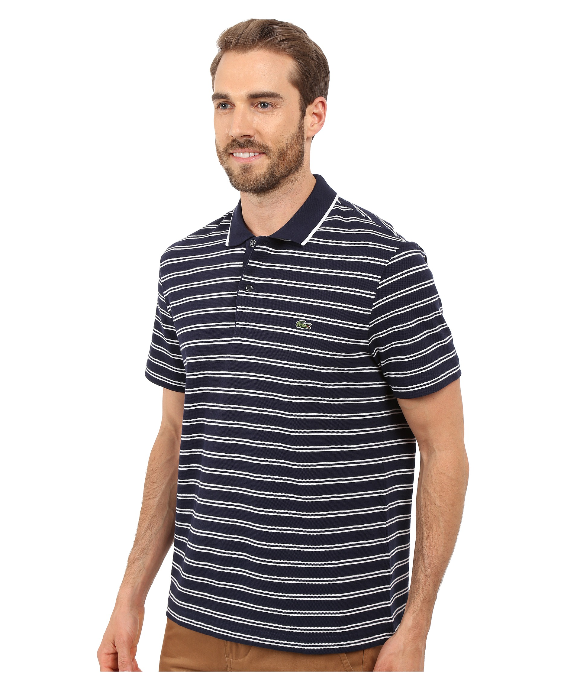 Lacoste short sleeve pique jersey stripe polo navy blue for Lacoste stripe pique polo shirt