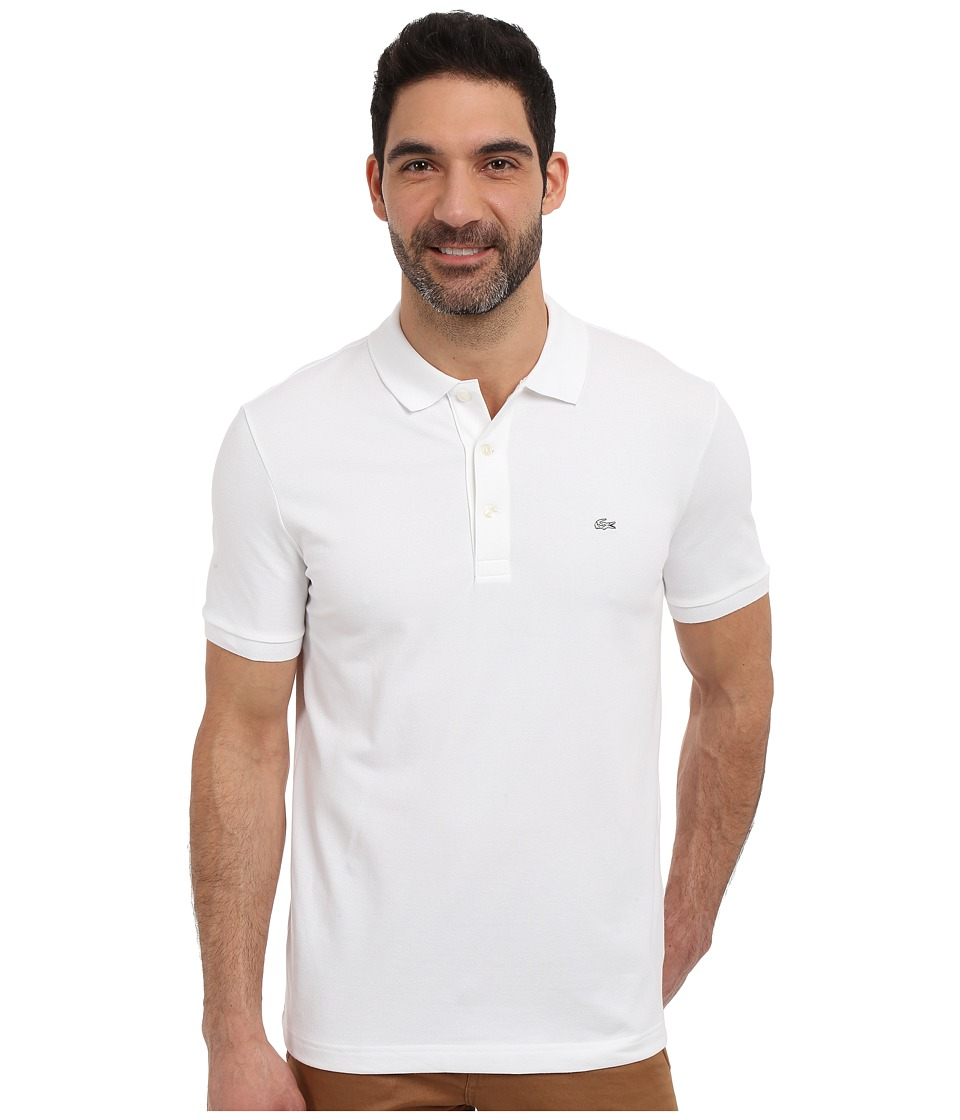 Lacoste - Stretch Petit Pique Slim Fit Polo (White) Mens Short Sleeve Pullover
