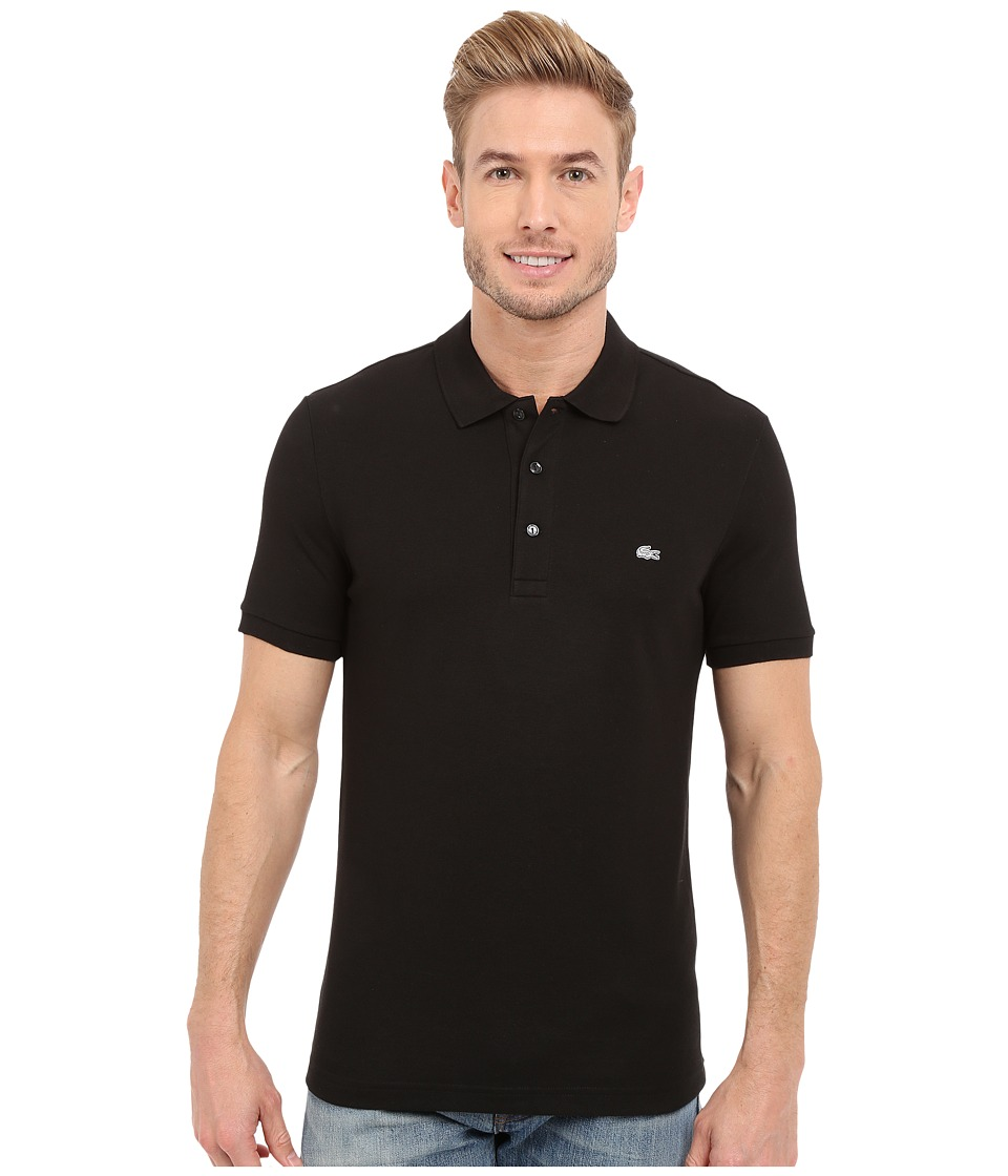 Lacoste Stretch Petit Pique Slim Fit Polo (Black) Men's S...