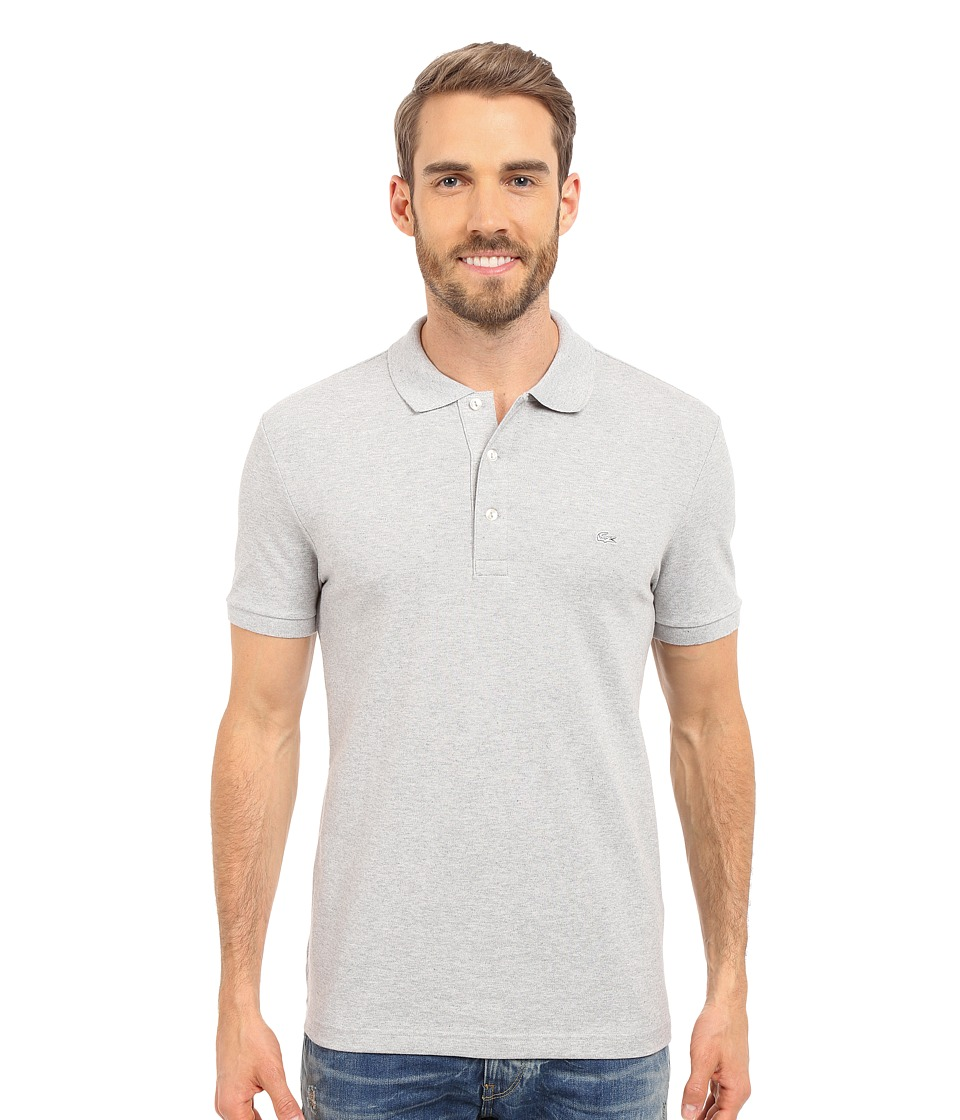 Lacoste Stretch Petit Pique Slim Fit Polo (Silver Chine) ...