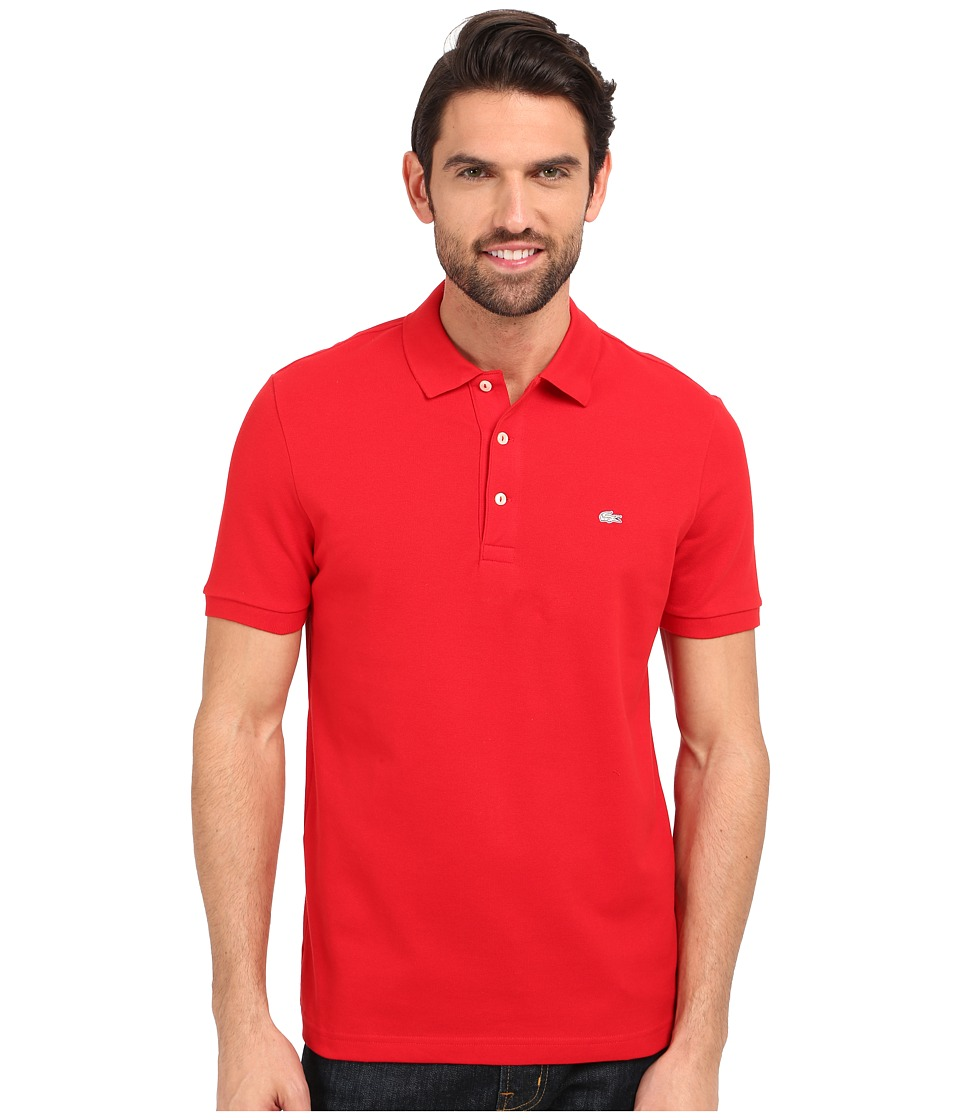 Lacoste Stretch Petit Pique Slim Fit Polo (Red) Men's Sho...