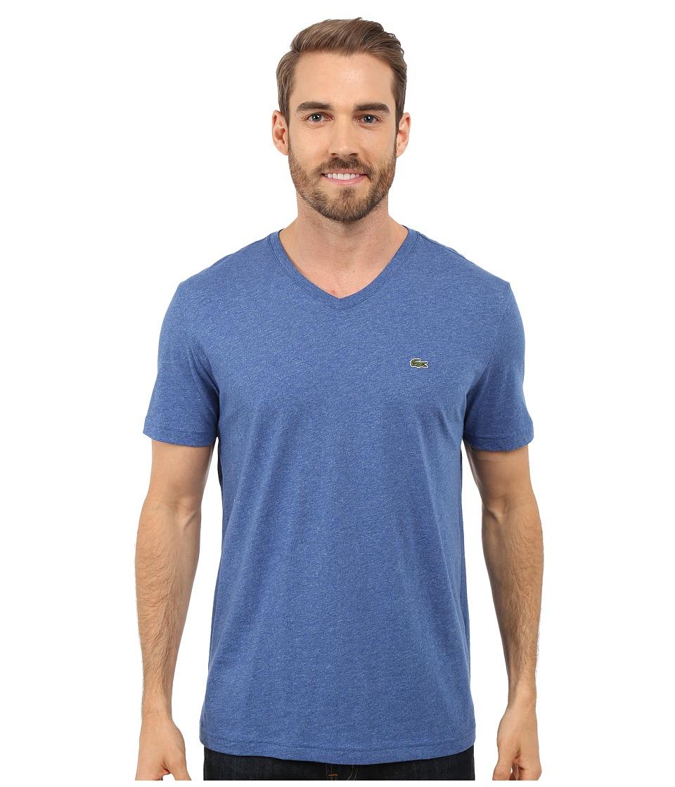 Lacoste - S/S Pima Jersey V-Neck T-Shirt (Tourmaline Chine) Men