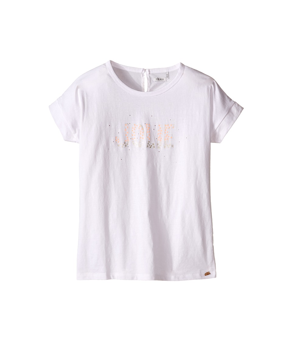 IKKS Jersey Top with Bubble Sleeve Studs on Front Toddler/Little Kids/Big Kids White Girls Short Sleeve Pullover