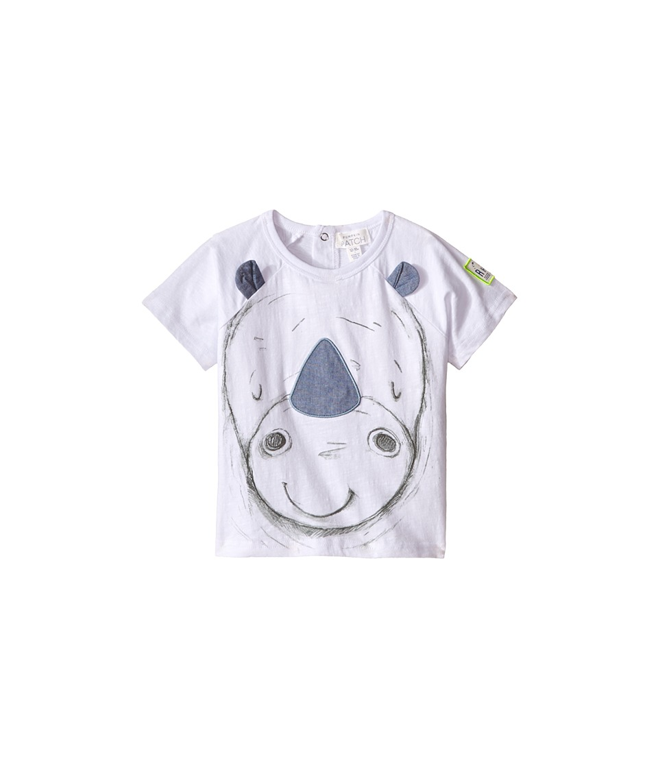 Pumpkin Patch Kids Baby Rhino Face Tee Infant Clean White Boys T Shirt