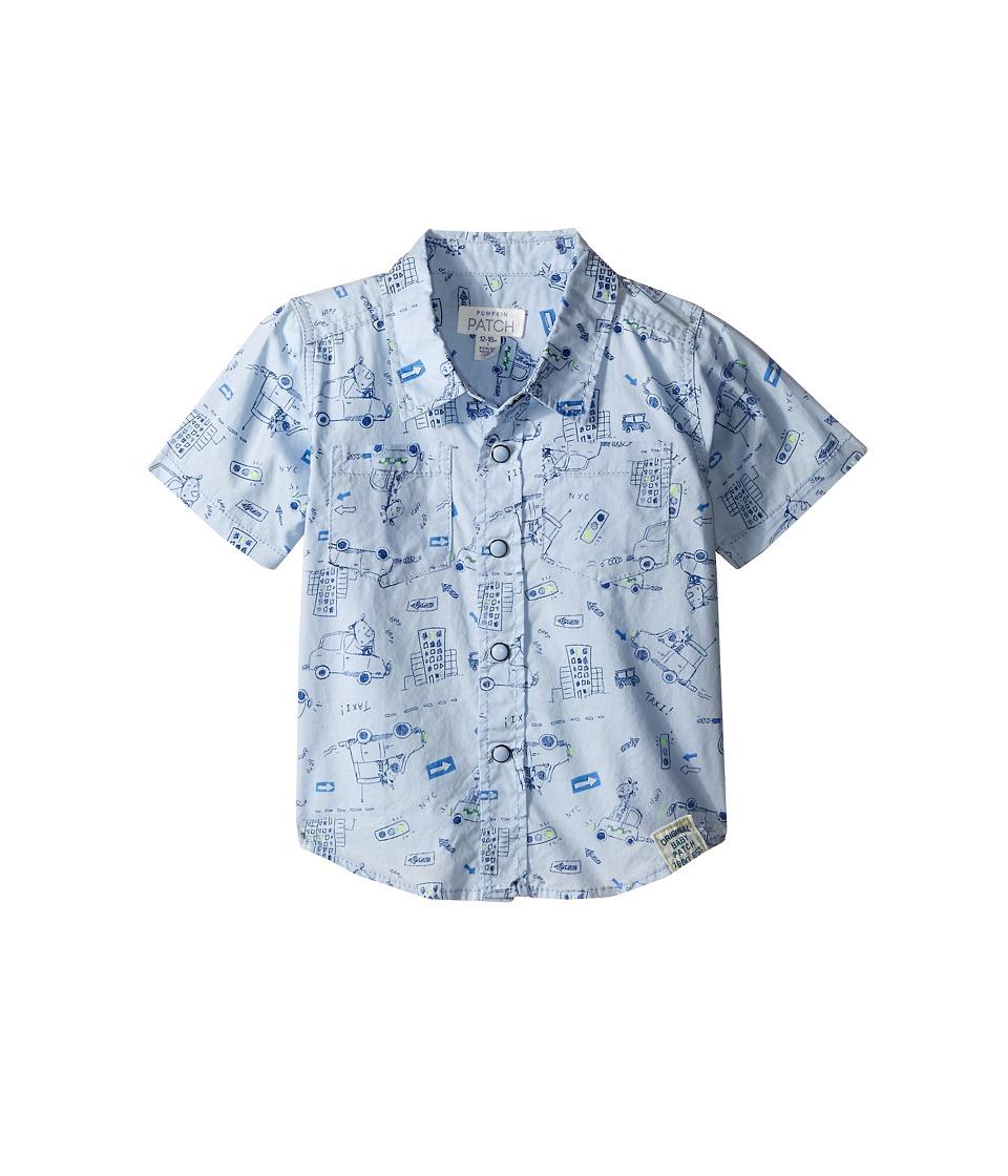 Pumpkin Patch Kids Animal Print Shirt Infant Cashmere Blue Boys Short Sleeve Pullover