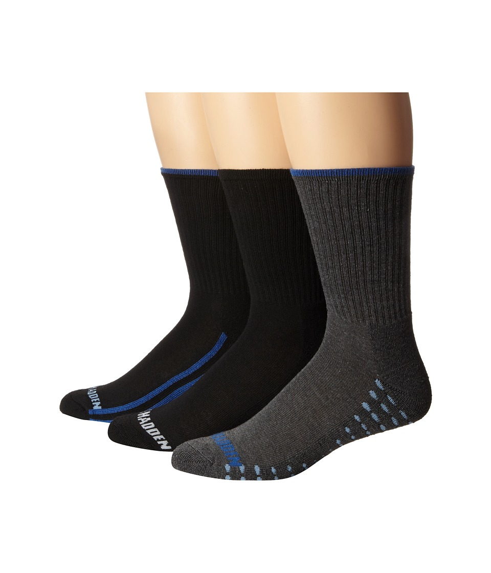 Steve Madden 3 Pack Athletic Crew with Arch Support and 1/2 Cushion Black/Charcoal/Blue Mens Crew Cut Socks Shoes