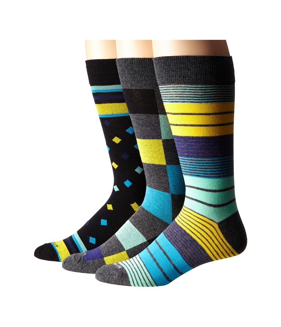 Steve Madden 3 Pack Fashion Crew Socks Charcoal /Yellow Mens Crew Cut Socks Shoes