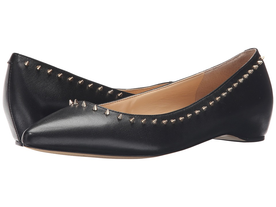 Ivanka Trump Cecille Black Leather Womens Flat Shoes