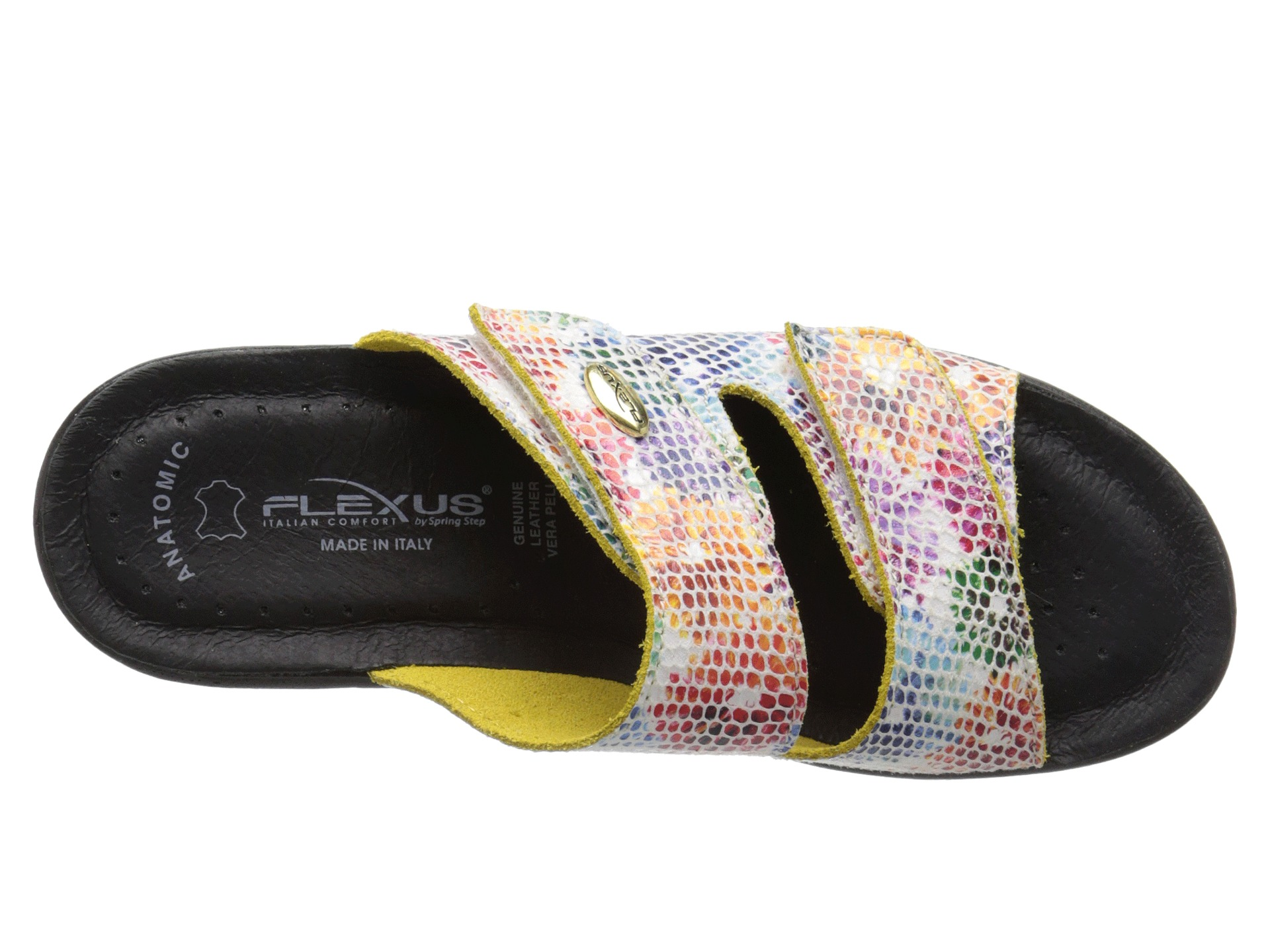 From Flexus by Spring Step, these Kina leather slide sandals offer all-day comfort with an airy double-strap design and high-quality, supportive construction. Done in a pretty printed pattern, the hook-and-loop closures adjust for a secure, individualized fit. Shoe Fit Guide. Shoe Glossary. Free Exchanges. Delivery Date Estimate.4/5(2).
