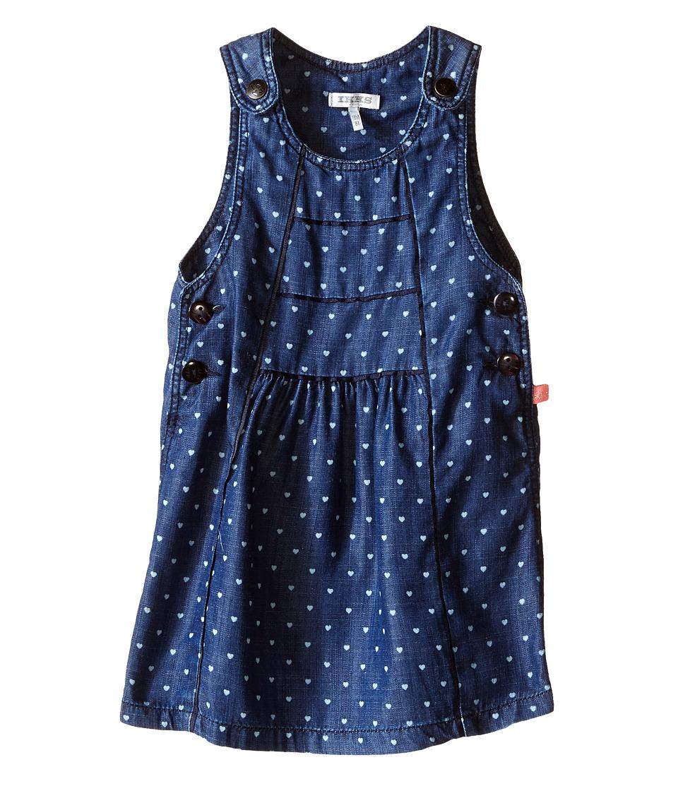 IKKS Chambray Denim Jumper Dress with Heart Print Adjustable Straps Infant/Toddler Indigo Print Girls Dress