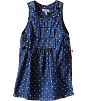 IKKS - Chambray Denim Jumper Dress with Heart Print & Adjustable Straps (Infant/Toddler)