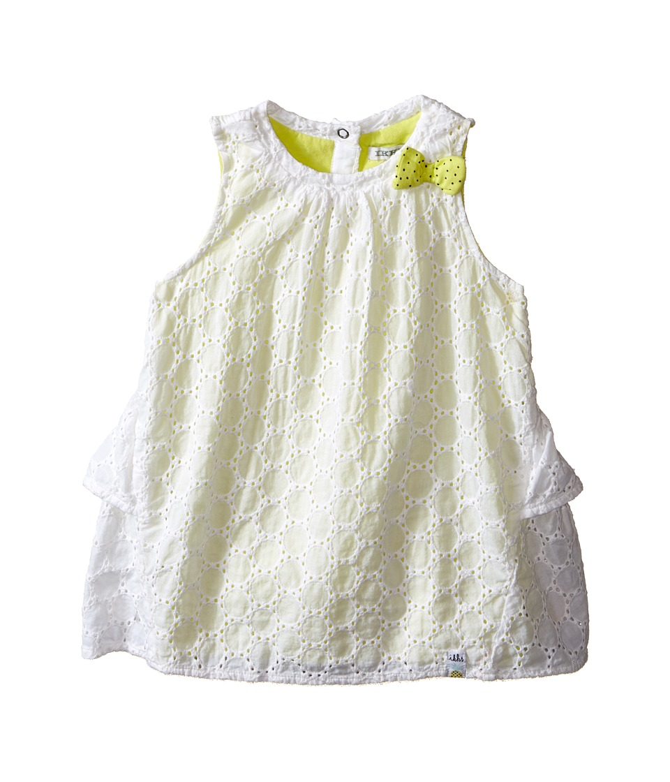 IKKS Eyelet Sleeveless Dress Over Neon Yellow Jersey with Bow Ruffle Back w/ Snaps Infant/Toddler Bright White Girls Dress