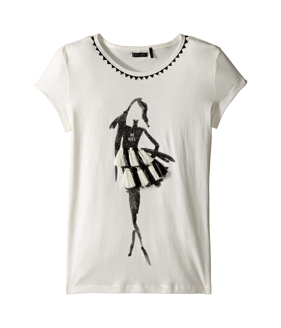 IKKS 3D Tassel Tee Little Kids/Big Kids Beige Girls T Shirt