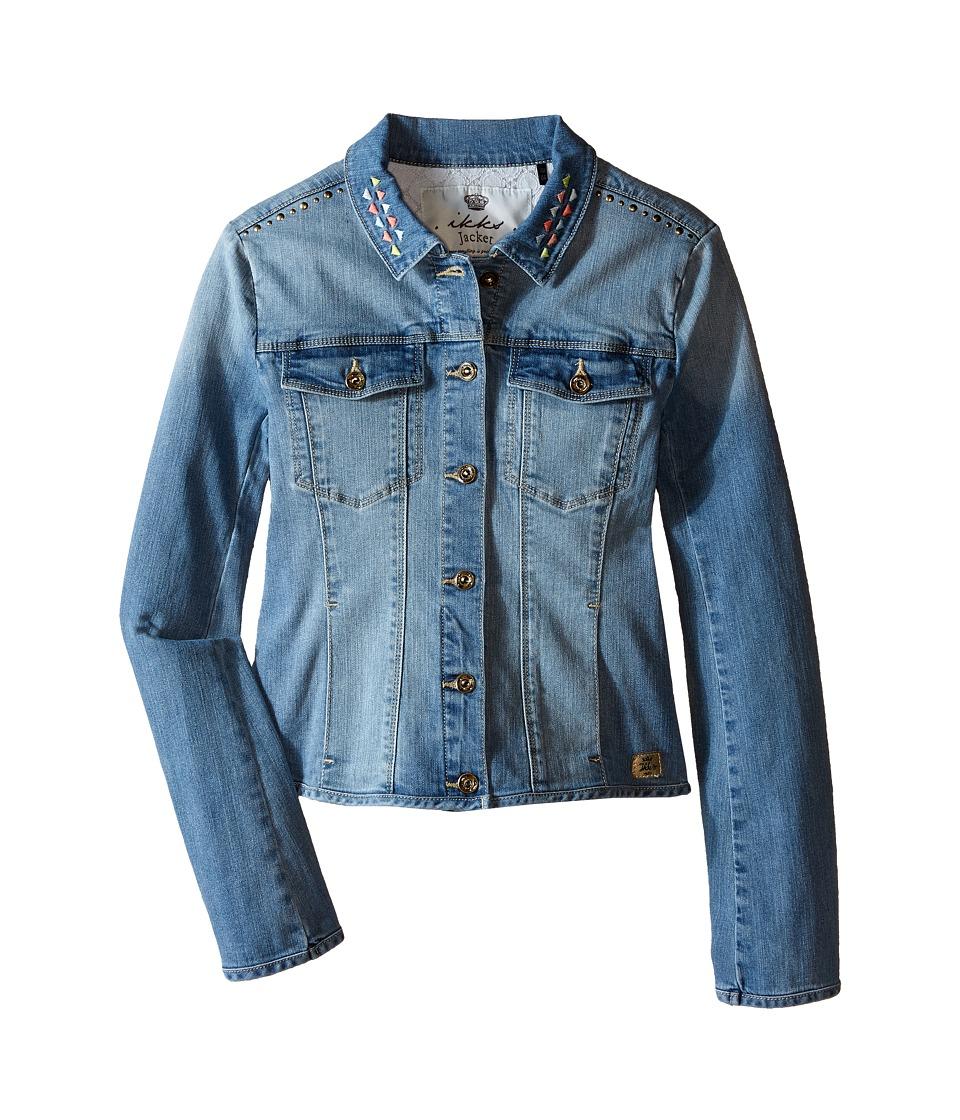 IKKS Denim Jacket with Large Stones Embroidered Detail Little Kids/Big Kids Blue Girls Jacket