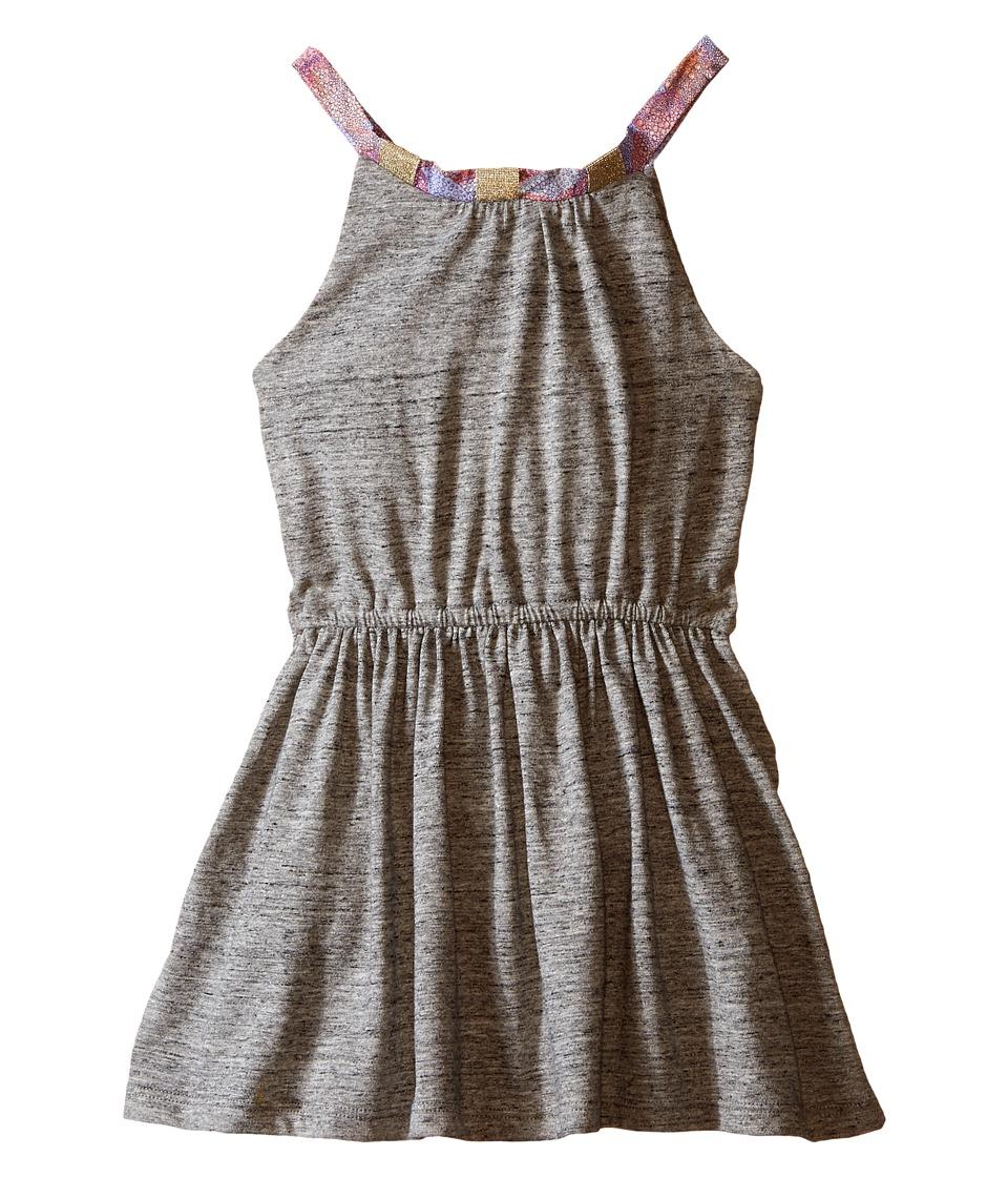 IKKS Jersey Dress with Pink Chiffon Straps Elastic Waistband Toddler/Little Kids/Big Kids Dark Grey Girls Dress