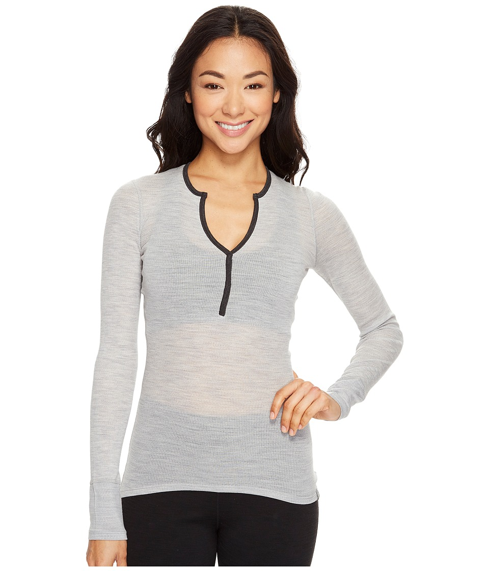 Icebreaker Butter Rib Long Sleeve (Blizzard Heather/Jet Heather) Women