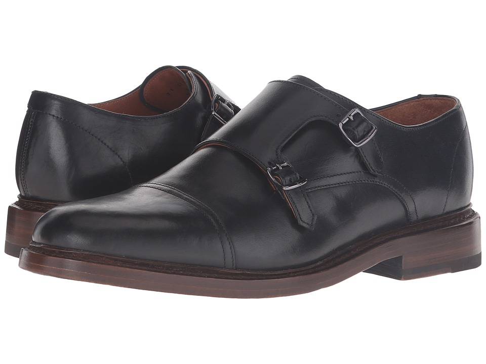 Frye - Jones Double Monk (Black Vintage Veg Tan) Men