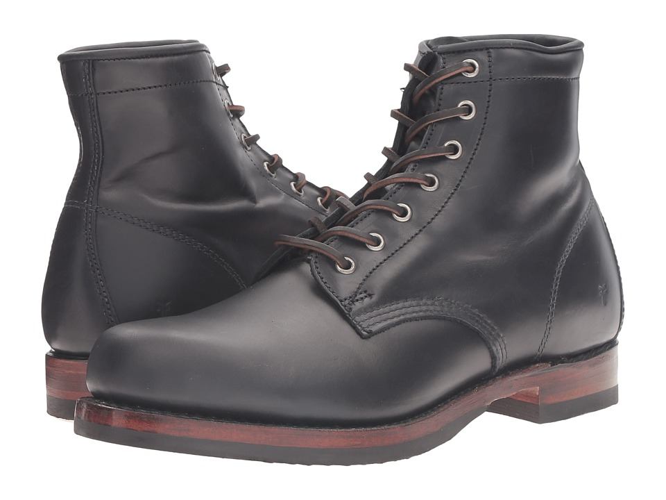 Frye - John Addison Lace-Up (Black Smooth Pull-Up Leather) Men