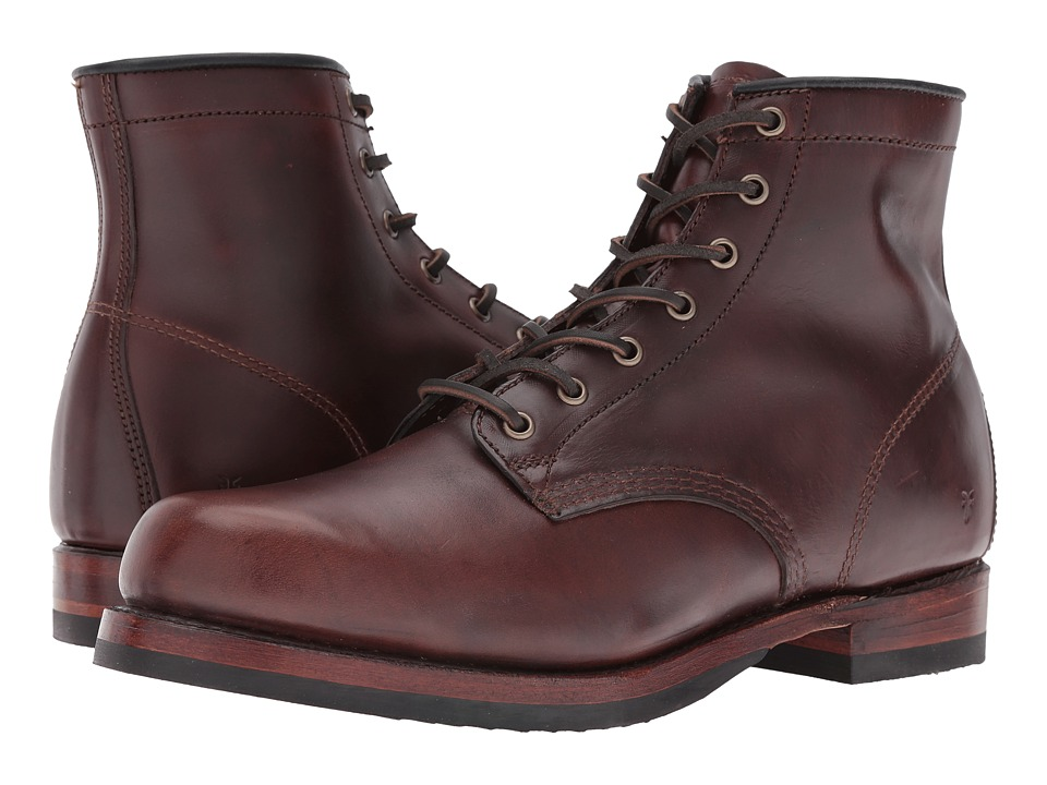 Frye John Addison Lace-Up (Dark Brown Smooth Pull-Up Leather) Men