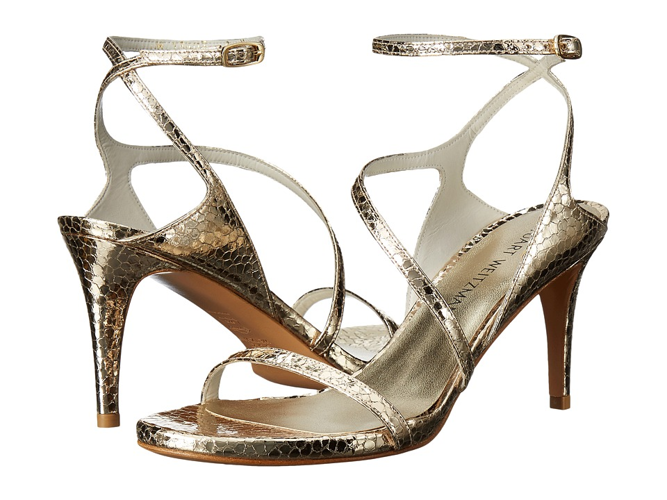 Stuart Weitzman Bridal amp Evening Collection Sultrymid Bright Gold Shatter Napa High Heels