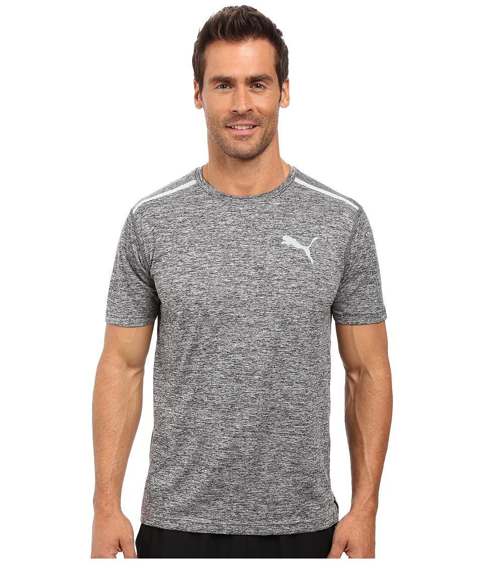 PUMA - Bonded Tech Short Sleeve Tee (Puma Black Heather/Quarry) Men