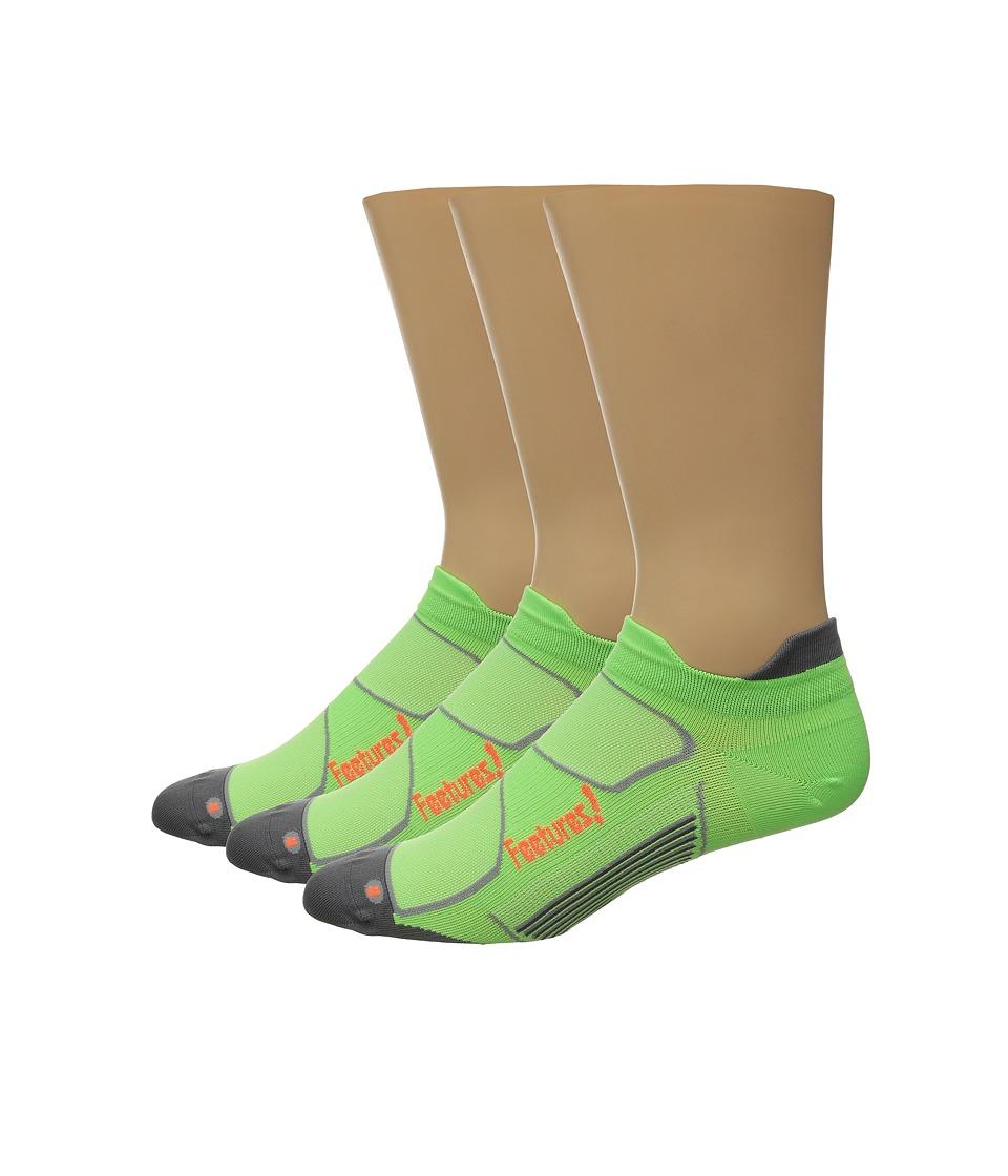 Feetures Elite Ultra Light No Show Tab 3 Pair Pack Citron/Electric Orange No Show Socks Shoes