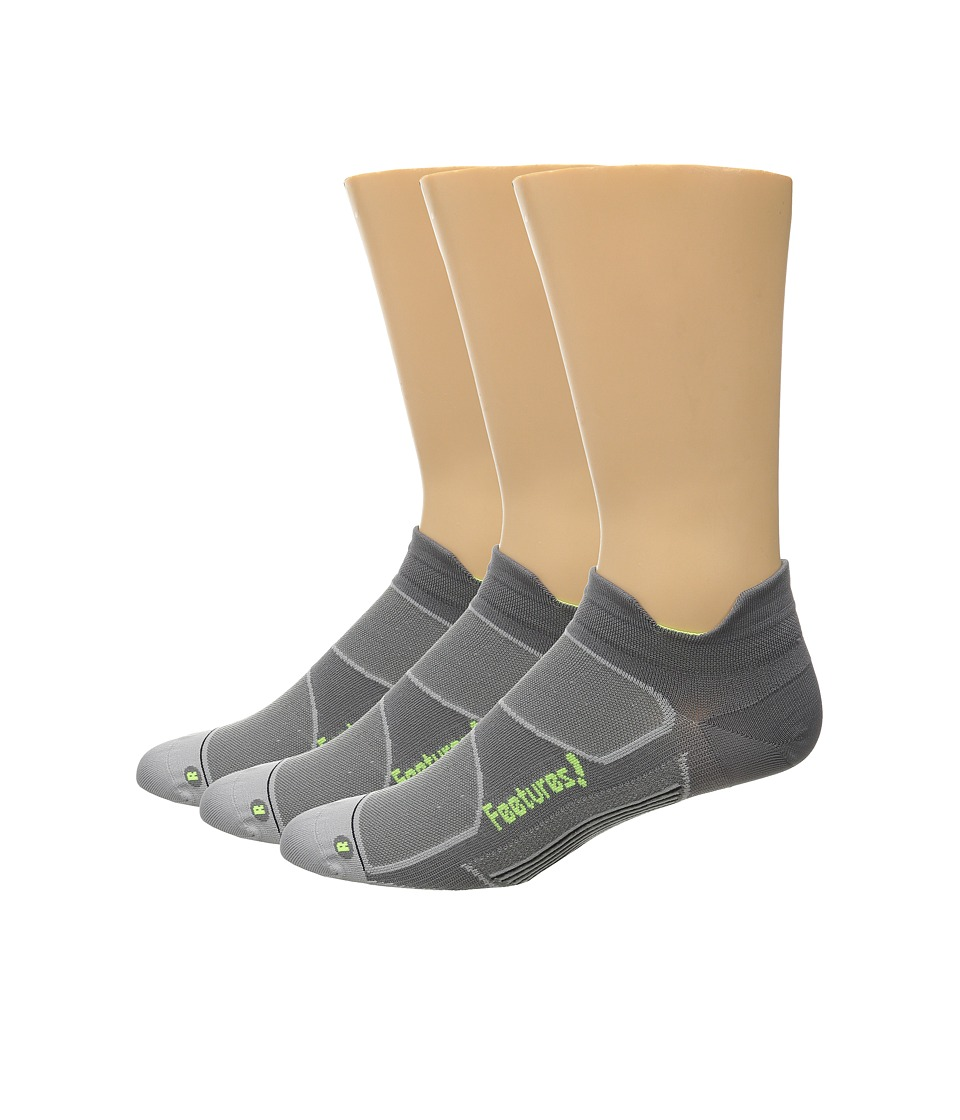 Feetures Elite Ultra Light No Show Tab 3 Pair Pack Graphite/Reflector No Show Socks Shoes