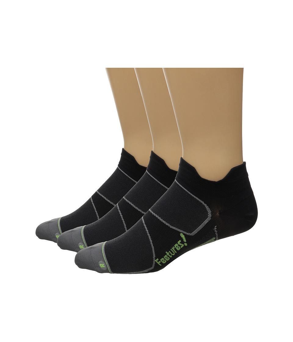Feetures Elite Ultra Light No Show Tab 3 Pair Pack Black/Reflector No Show Socks Shoes
