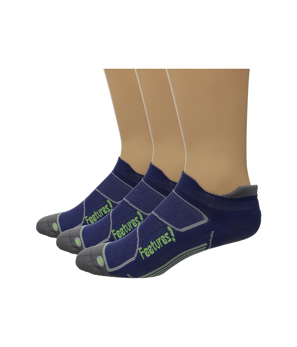 Feetures Elite Light Cushion No Show Tab 3 Pair Pack Navy/Reflector No Show Socks Shoes