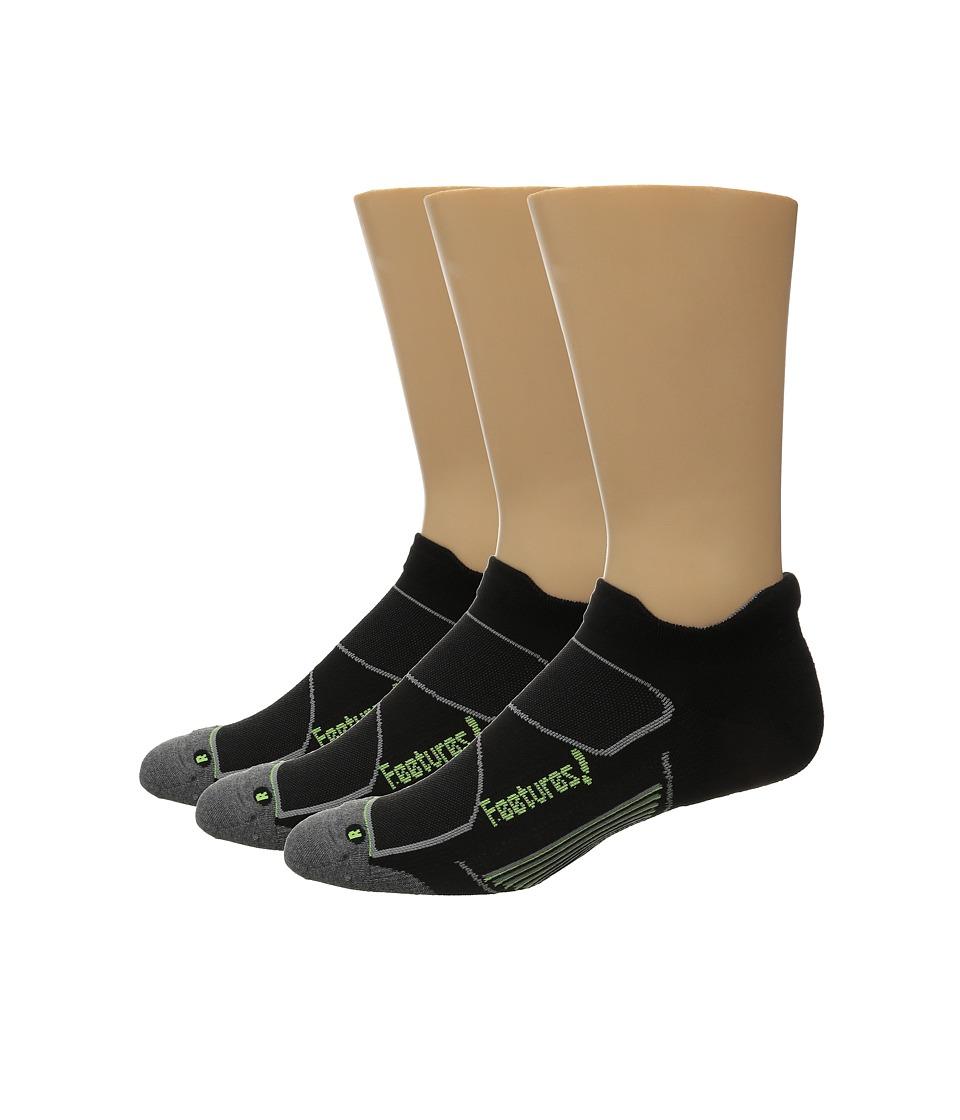 Feetures Elite Max Cushion No Show Tab 3 Pair Pack Black/Reflector No Show Socks Shoes