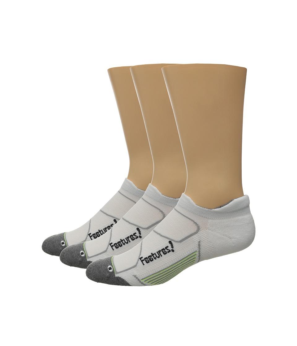 Feetures Elite Max Cushion No Show Tab 3 Pair Pack White/Black No Show Socks Shoes