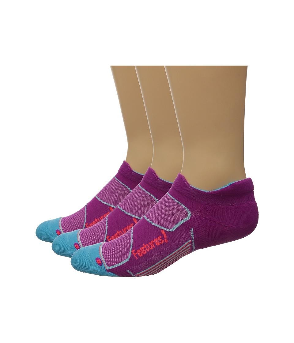 Feetures Elite Max Cushion No Show Tab 3 Pair Pack Berry/Lava No Show Socks Shoes