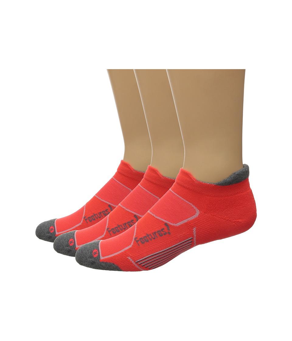 Feetures Elite Max Cushion No Show Tab 3 Pair Pack Lava/Graphite No Show Socks Shoes