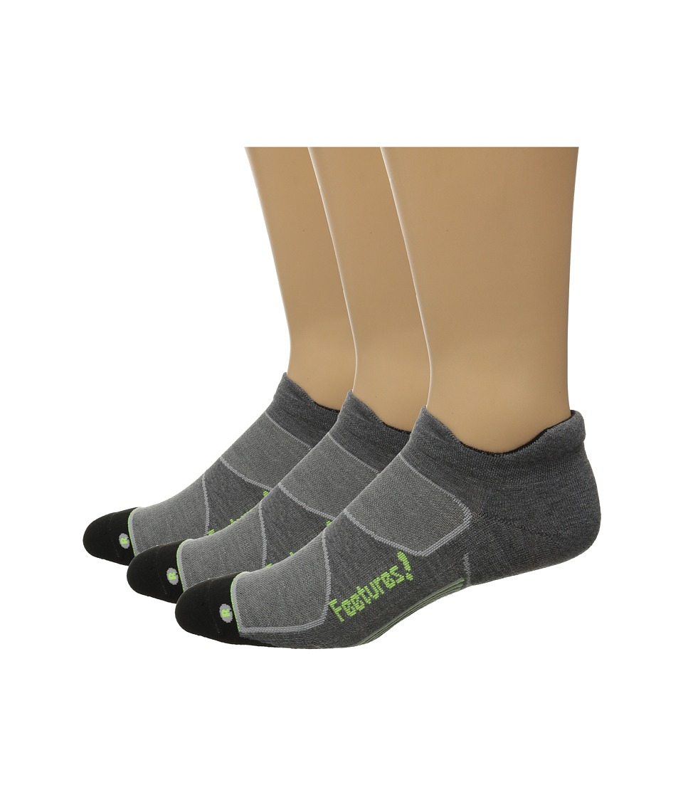 Feetures Elite Max Cushion No Show Tab 3 Pair Pack Heather Gray/Reflector No Show Socks Shoes