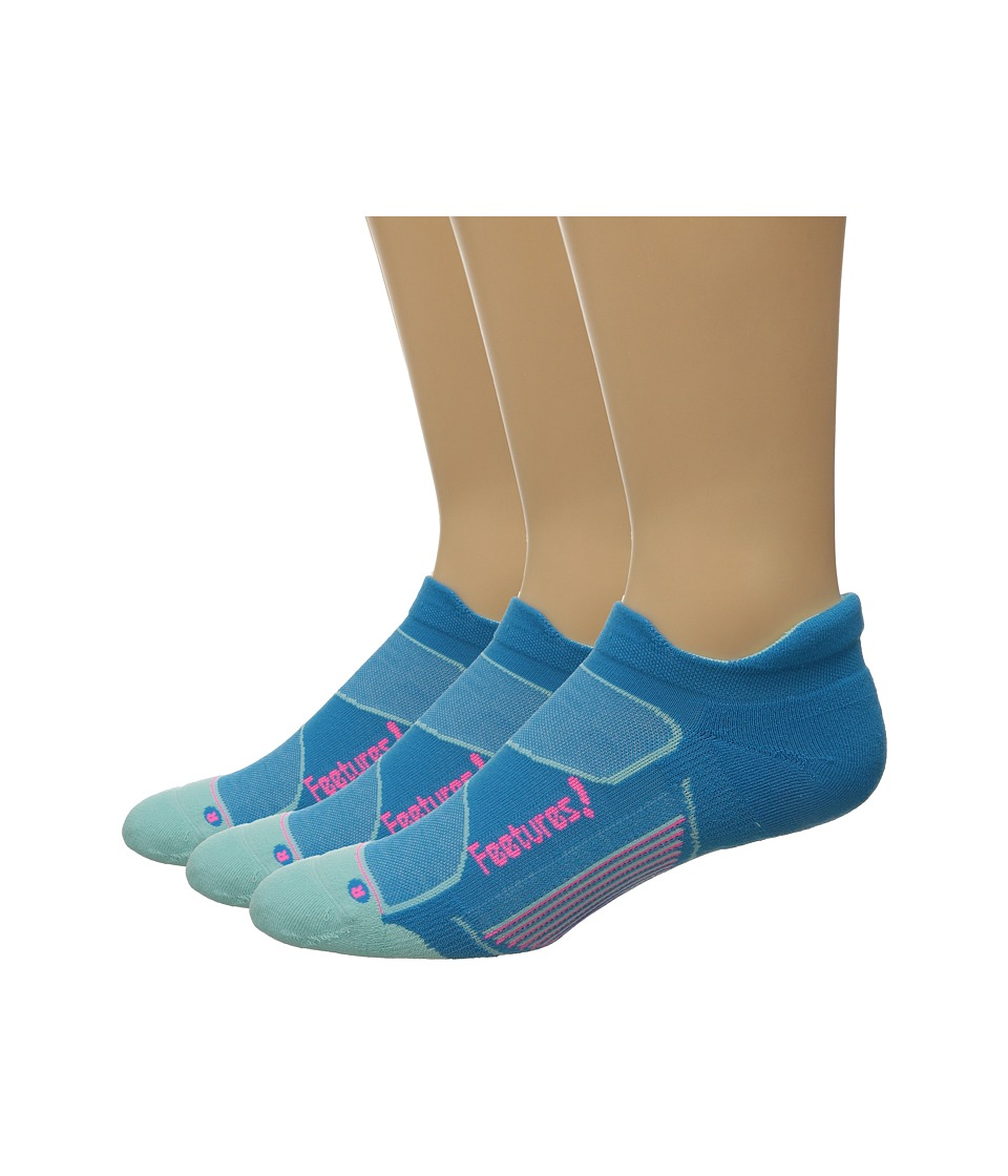 Feetures Elite Max Cushion No Show Tab 3 Pair Pack Hawaiian Blue/Electric Pink No Show Socks Shoes