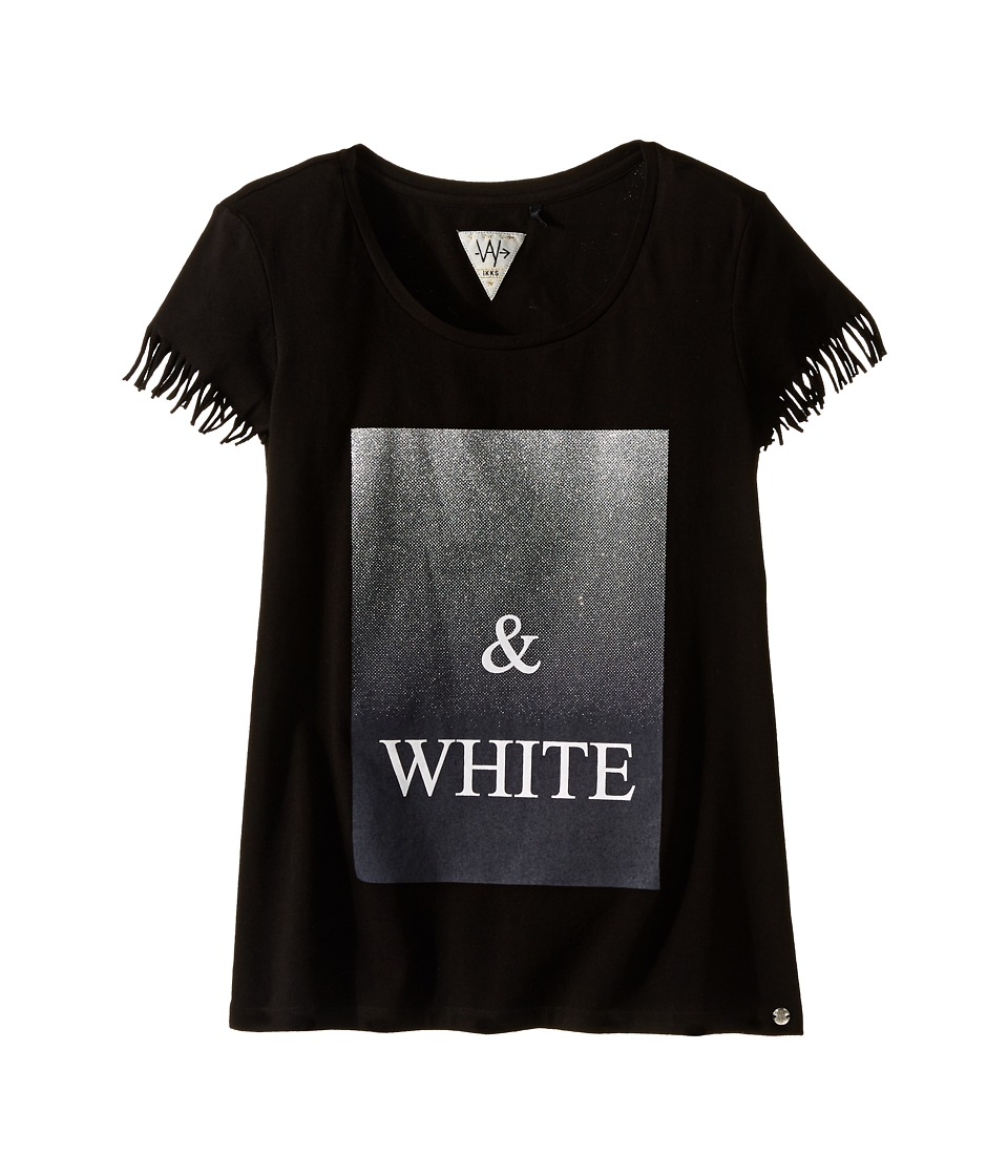 IKKS Graphic T Shirt with Fringe Sleeves Metallic Graphic Detail Big Kids Black Girls Short Sleeve Pullover